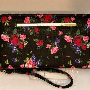 Steve Madden Black Floral Wallet With Wrist Strap